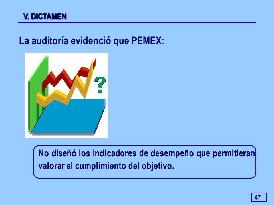 La auditoría evidenció que PEMEX: