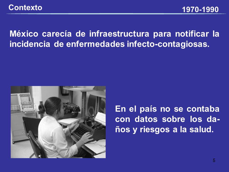 Contexto 1970-1990. México carecía de infraestructura para notificar la incidencia de enfermedades infecto-contagiosas.