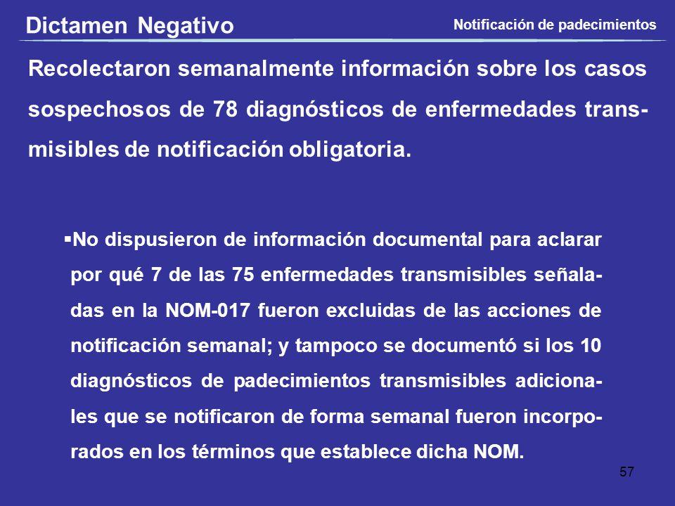 Dictamen Negativo Notificación de padecimientos.