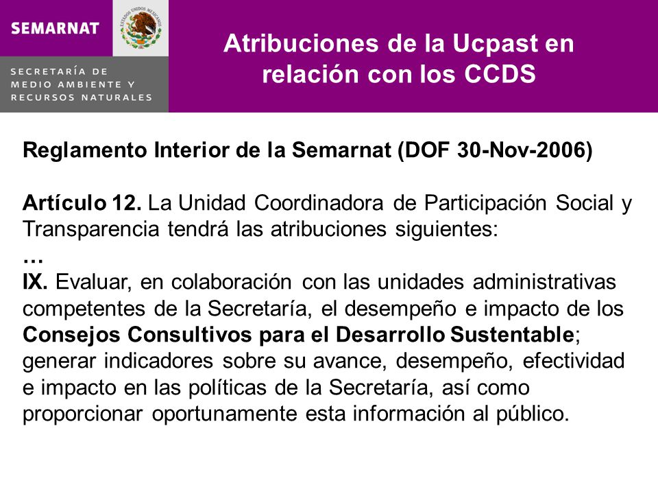 Atribuciones de la Ucpast en relación con los CCDS