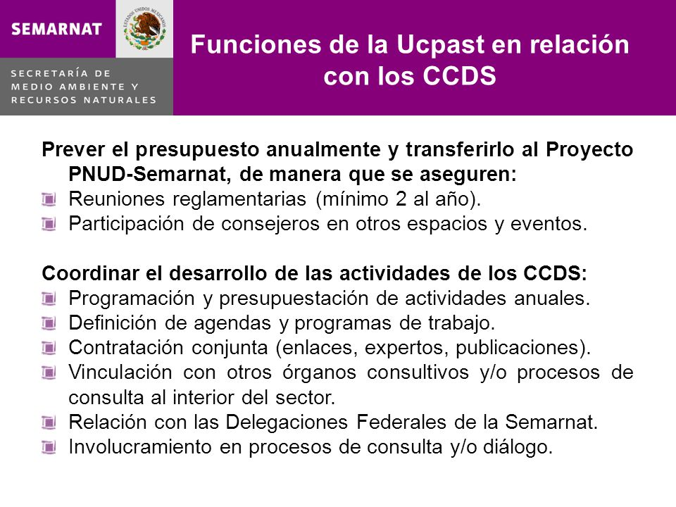 Funciones de la Ucpast en relación con los CCDS