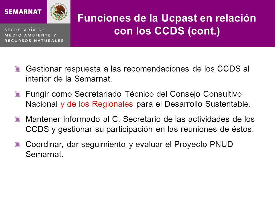 Funciones de la Ucpast en relación con los CCDS (cont.)
