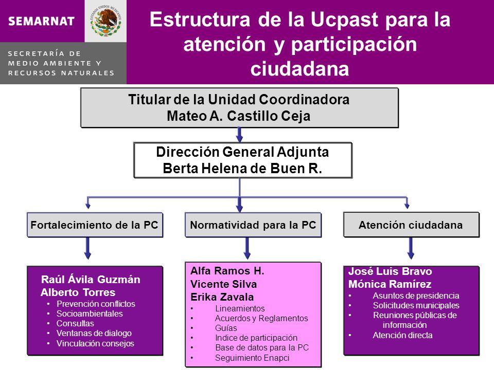 Estructura de la Ucpast para la atención y participación ciudadana