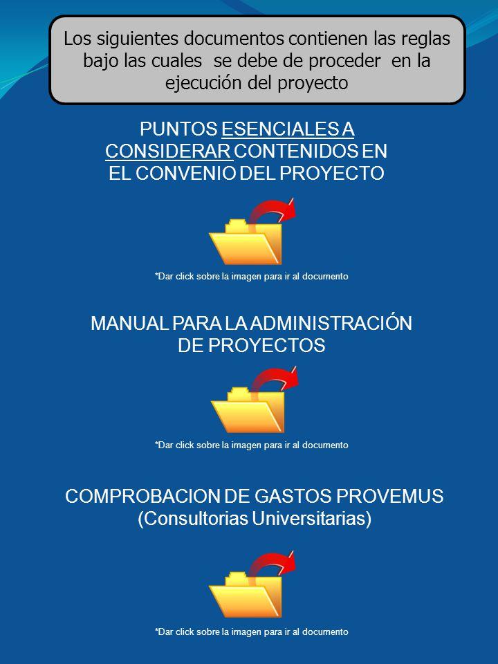 PUNTOS ESENCIALES A CONSIDERAR CONTENIDOS EN EL CONVENIO DEL PROYECTO