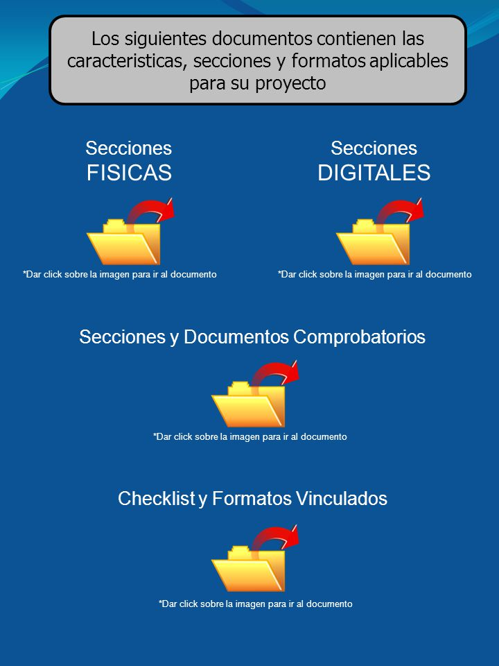 Los siguientes documentos contienen las caracteristicas, secciones y formatos aplicables para su proyecto