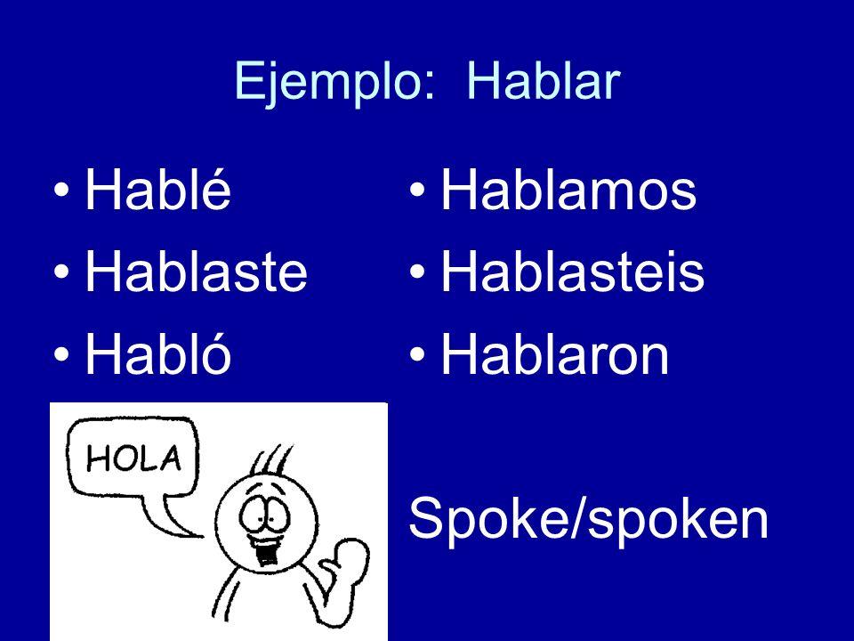 Hablé Hablaste Habló Hablamos Hablasteis Hablaron Spoke/spoken