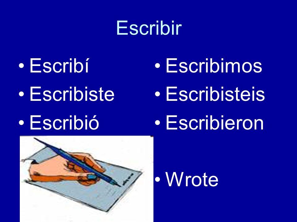 Escribir Escribí Escribiste Escribió Escribimos Escribisteis Escribieron Wrote