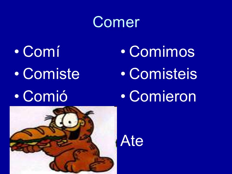 Comer Comí Comiste Comió Comimos Comisteis Comieron Ate