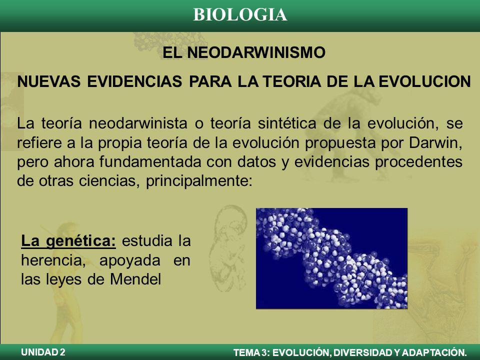NUEVAS EVIDENCIAS PARA LA TEORIA DE LA EVOLUCION
