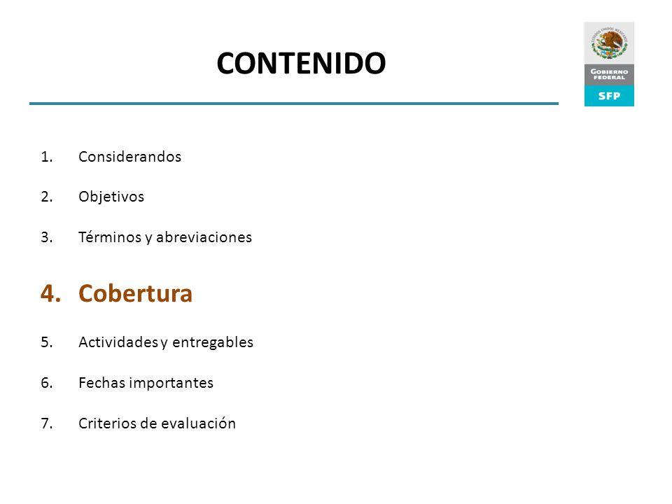 CONTENIDO Cobertura Considerandos Objetivos Términos y abreviaciones