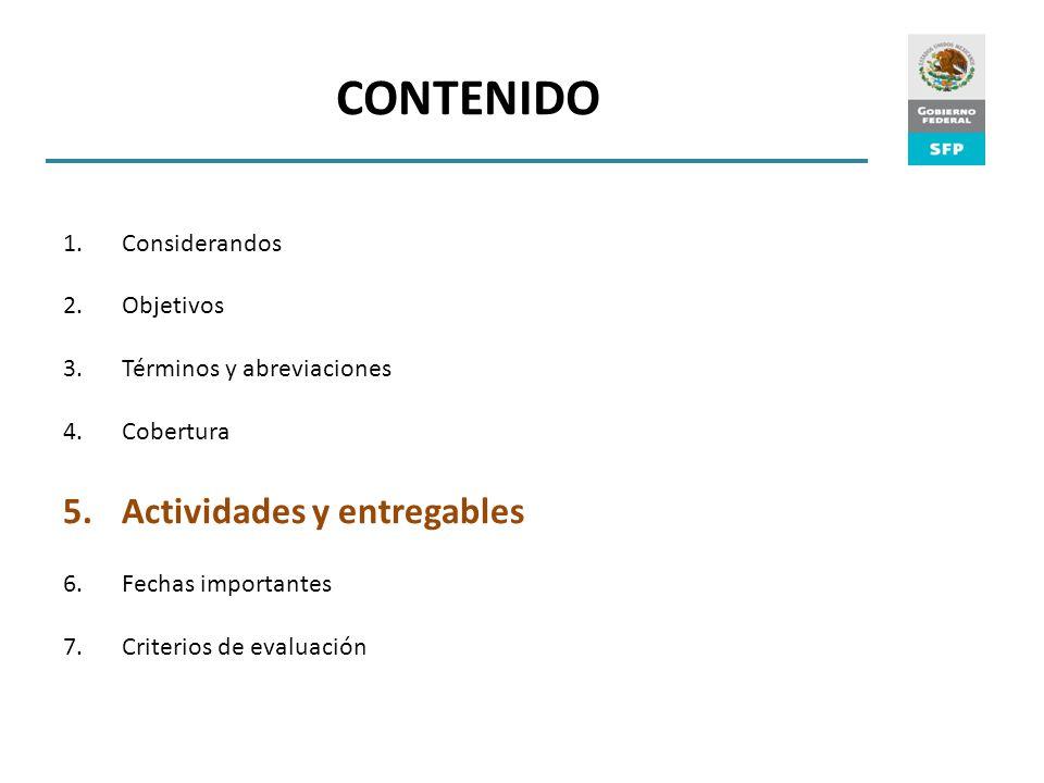 CONTENIDO Actividades y entregables Considerandos Objetivos