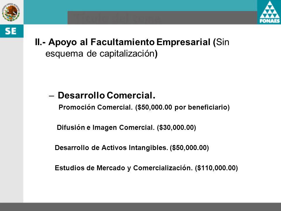 II.- Apoyo al Facultamiento Empresarial (Sin esquema de capitalización)