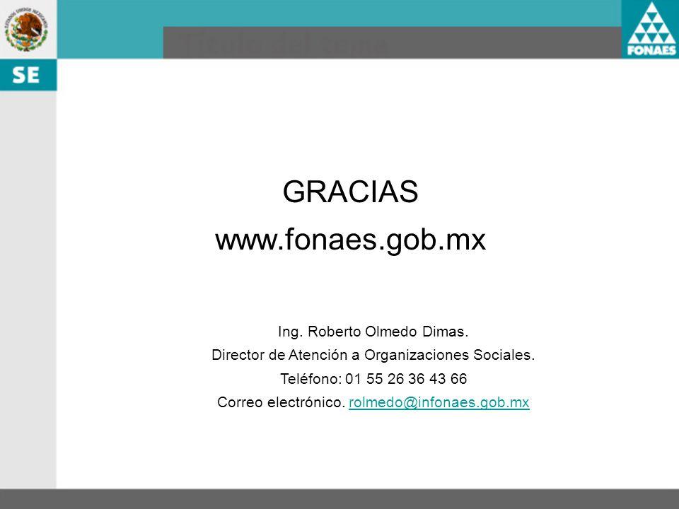 GRACIAS www.fonaes.gob.mx Ing. Roberto Olmedo Dimas.