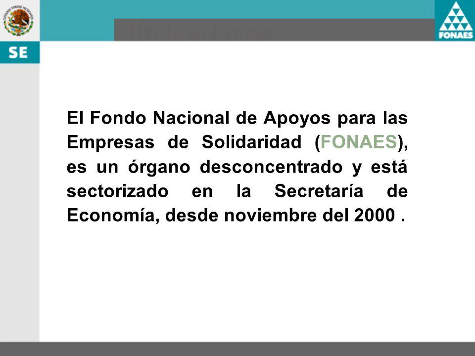 El Fondo Nacional de Apoyos para las Empresas de Solidaridad (FONAES), es un órgano desconcentrado y está sectorizado en la Secretaría de Economía, desde noviembre del 2000 .