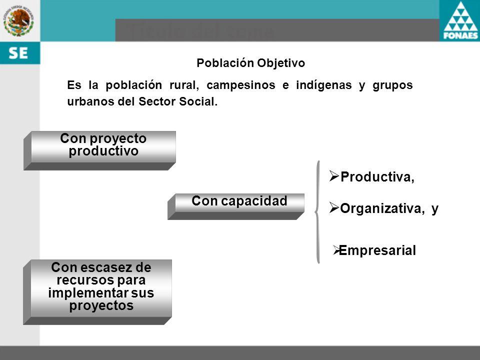 Productiva, Organizativa, y Con proyecto productivo Con capacidad