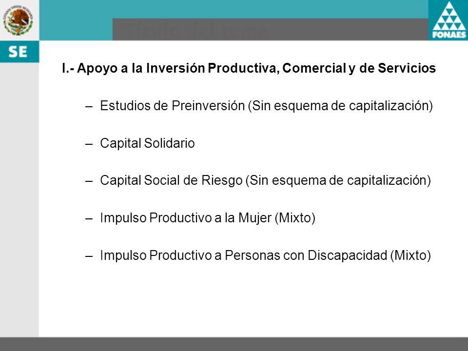 I.- Apoyo a la Inversión Productiva, Comercial y de Servicios