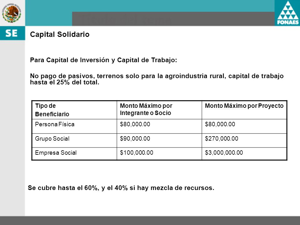 Capital Solidario Para Capital de Inversión y Capital de Trabajo: