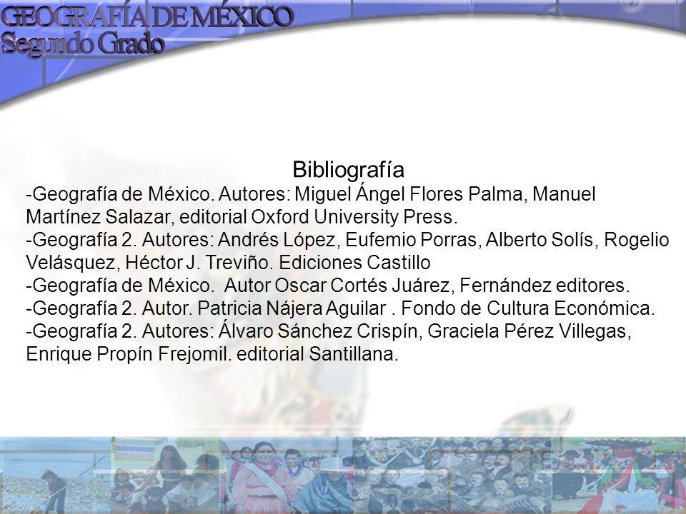 Bibliografía -Geografía de México. Autores: Miguel Ángel Flores Palma, Manuel Martínez Salazar, editorial Oxford University Press.