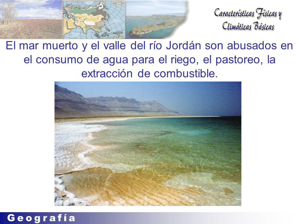 El mar muerto y el valle del río Jordán son abusados en el consumo de agua para el riego, el pastoreo, la extracción de combustible.