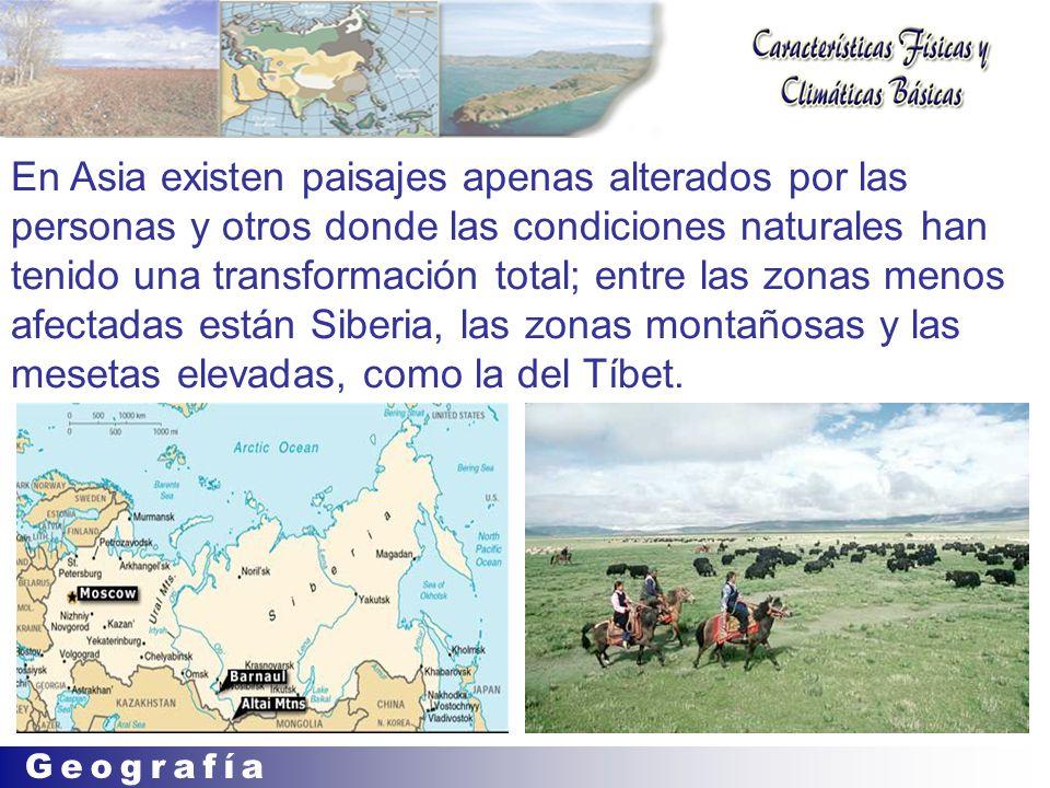 En Asia existen paisajes apenas alterados por las personas y otros donde las condiciones naturales han tenido una transformación total; entre las zonas menos afectadas están Siberia, las zonas montañosas y las mesetas elevadas, como la del Tíbet.