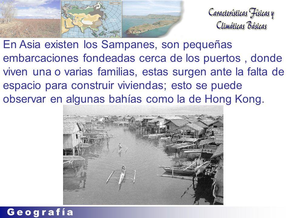 En Asia existen los Sampanes, son pequeñas embarcaciones fondeadas cerca de los puertos , donde viven una o varias familias, estas surgen ante la falta de espacio para construir viviendas; esto se puede observar en algunas bahías como la de Hong Kong.