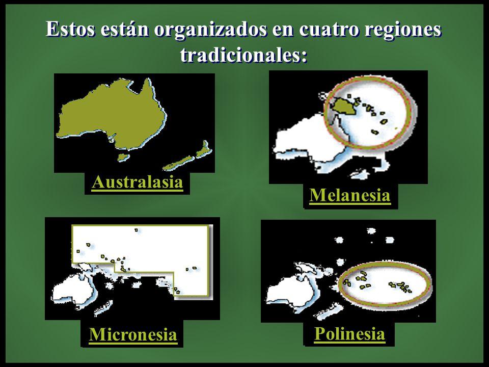 Estos están organizados en cuatro regiones tradicionales: