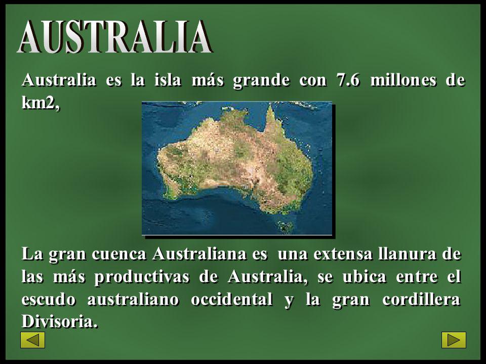 AUSTRALIA Australia es la isla más grande con 7.6 millones de km2,