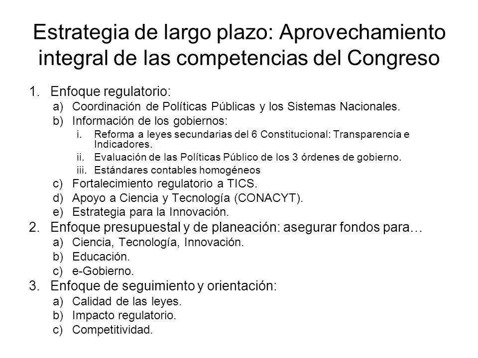 Estrategia de largo plazo: Aprovechamiento integral de las competencias del Congreso