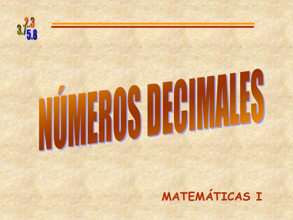 5.8 2.3 3.7 NÚMEROS DECIMALES MATEMÁTICAS I