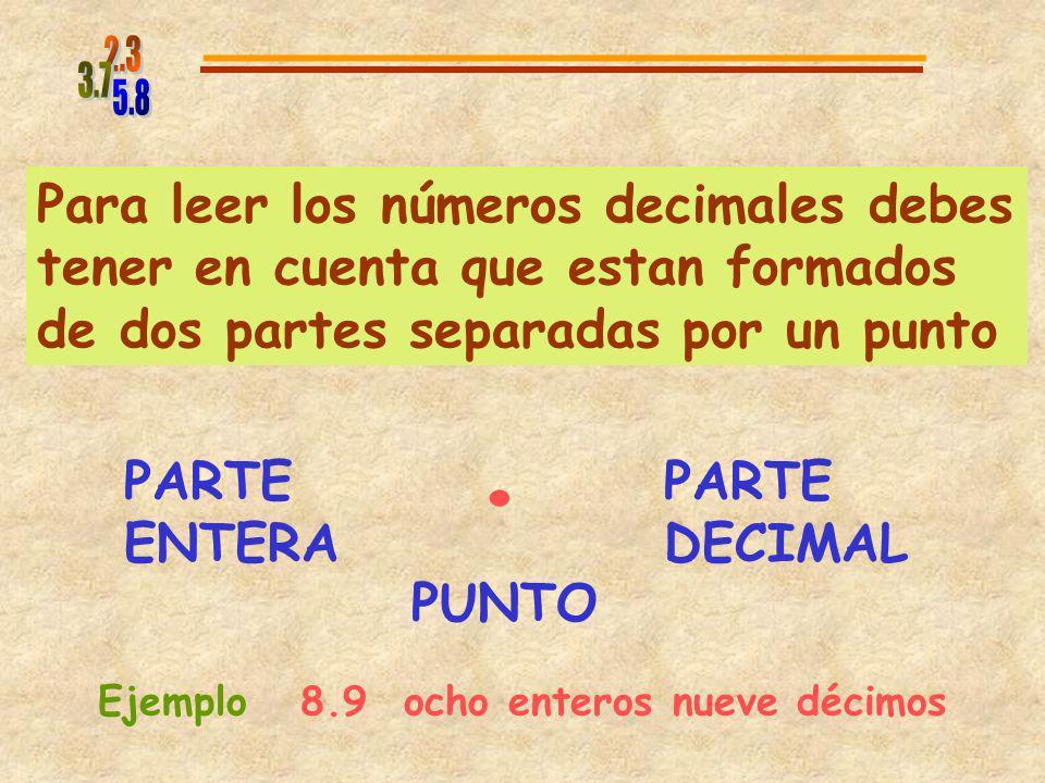 5.8 2.3. 3.7. Para leer los números decimales debes tener en cuenta que estan formados de dos partes separadas por un punto.