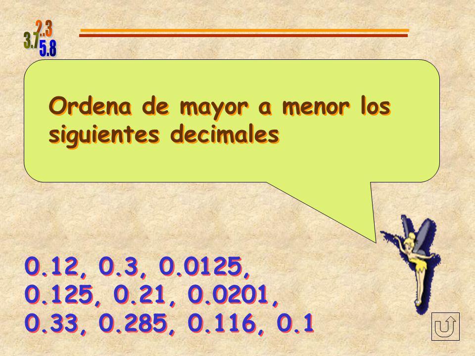 Ordena de mayor a menor los siguientes decimales