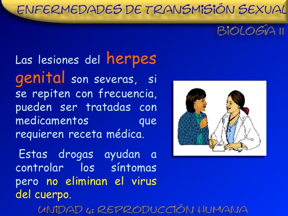 Las lesiones del herpes genital son severas, si se repiten con frecuencia, pueden ser tratadas con medicamentos que requieren receta médica.