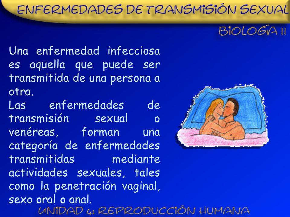 Una enfermedad infecciosa es aquella que puede ser transmitida de una persona a otra.