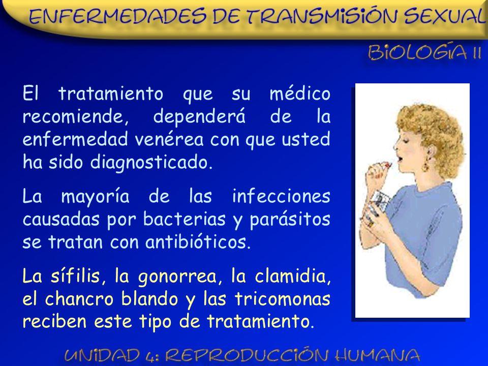 El tratamiento que su médico recomiende, dependerá de la enfermedad venérea con que usted ha sido diagnosticado.