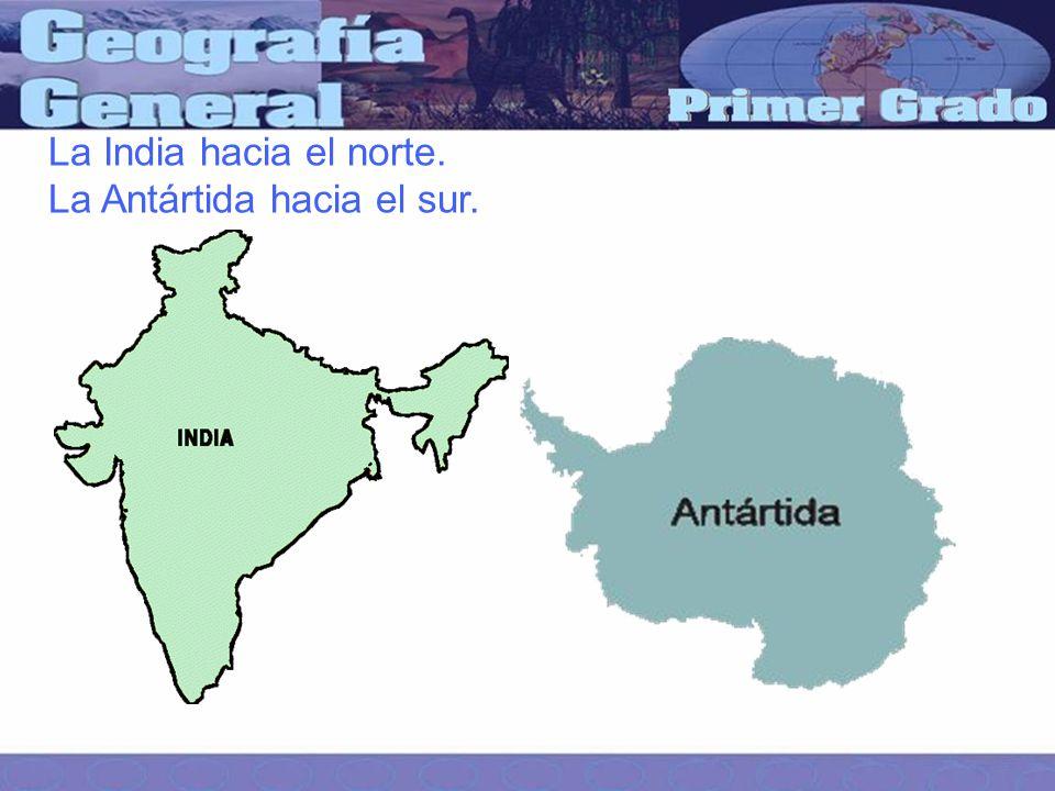 La India hacia el norte. La Antártida hacia el sur.