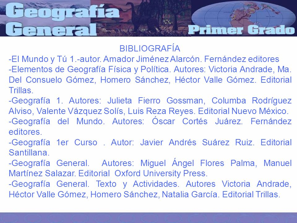 BIBLIOGRAFÍA -El Mundo y Tú 1.-autor. Amador Jiménez Alarcón. Fernández editores.