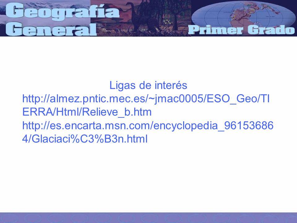 Ligas de interés http://almez.pntic.mec.es/~jmac0005/ESO_Geo/TIERRA/Html/Relieve_b.htm.