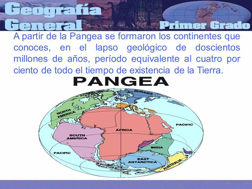 A partir de la Pangea se formaron los continentes que conoces, en el lapso geológico de doscientos millones de años, período equivalente al cuatro por ciento de todo el tiempo de existencia de la Tierra.