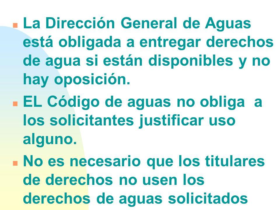 La Dirección General de Aguas está obligada a entregar derechos de agua si están disponibles y no hay oposición.