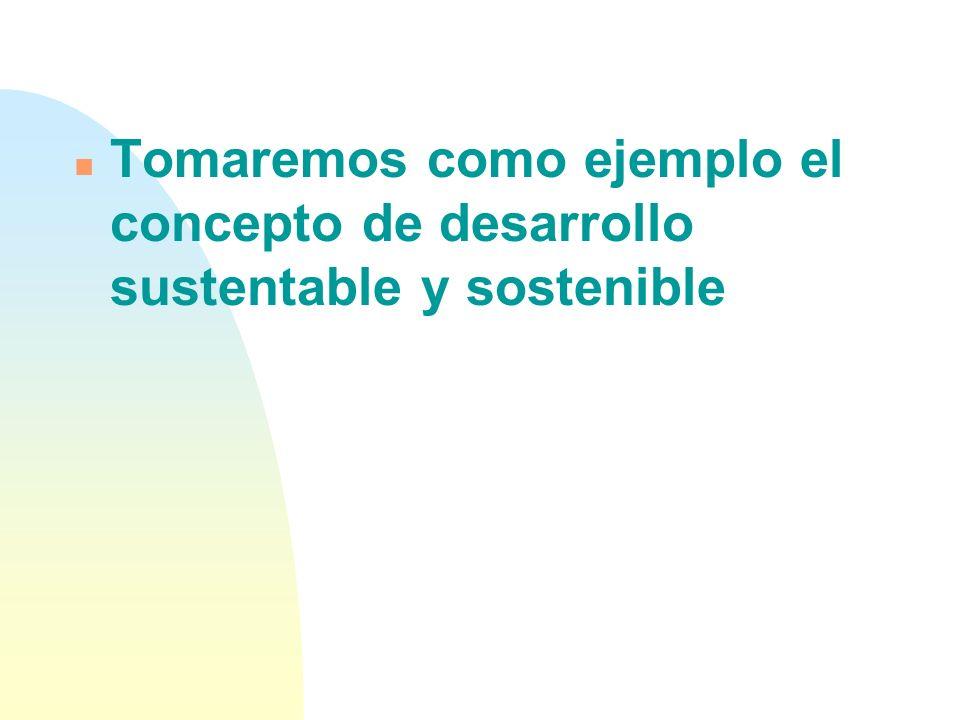 Tomaremos como ejemplo el concepto de desarrollo sustentable y sostenible