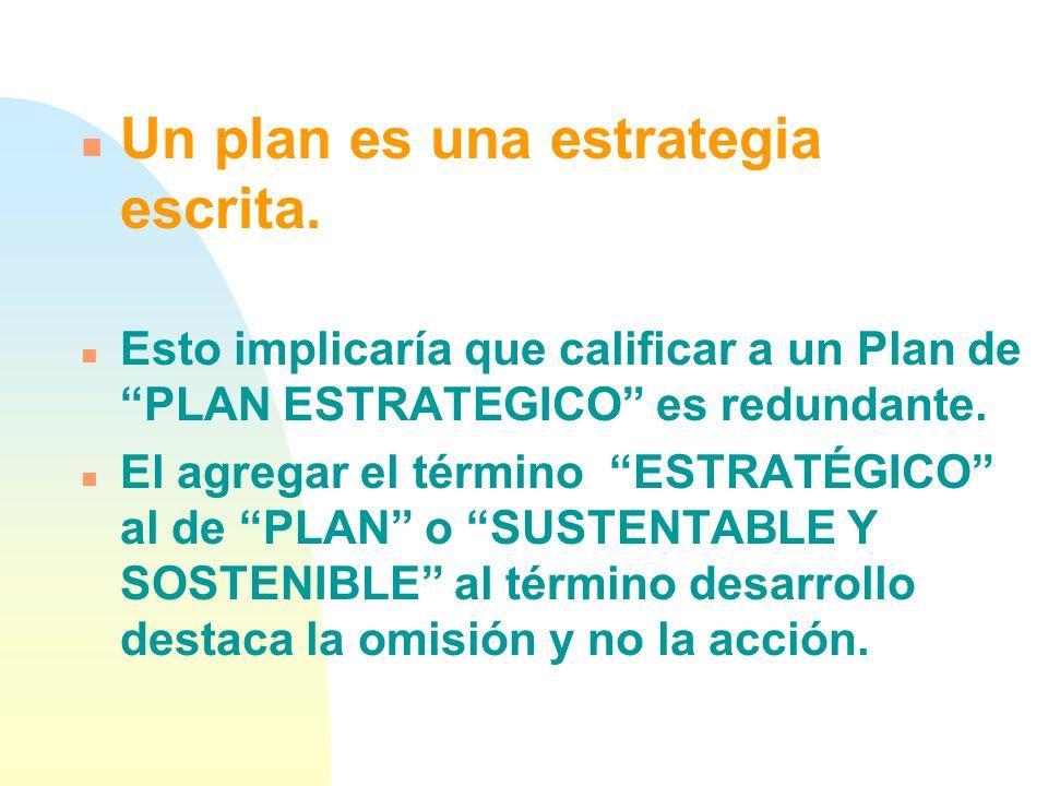 Un plan es una estrategia escrita.