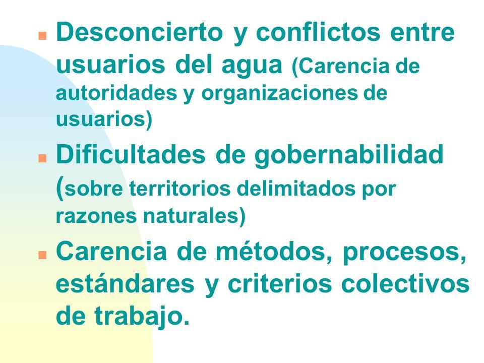Desconcierto y conflictos entre usuarios del agua (Carencia de autoridades y organizaciones de usuarios)