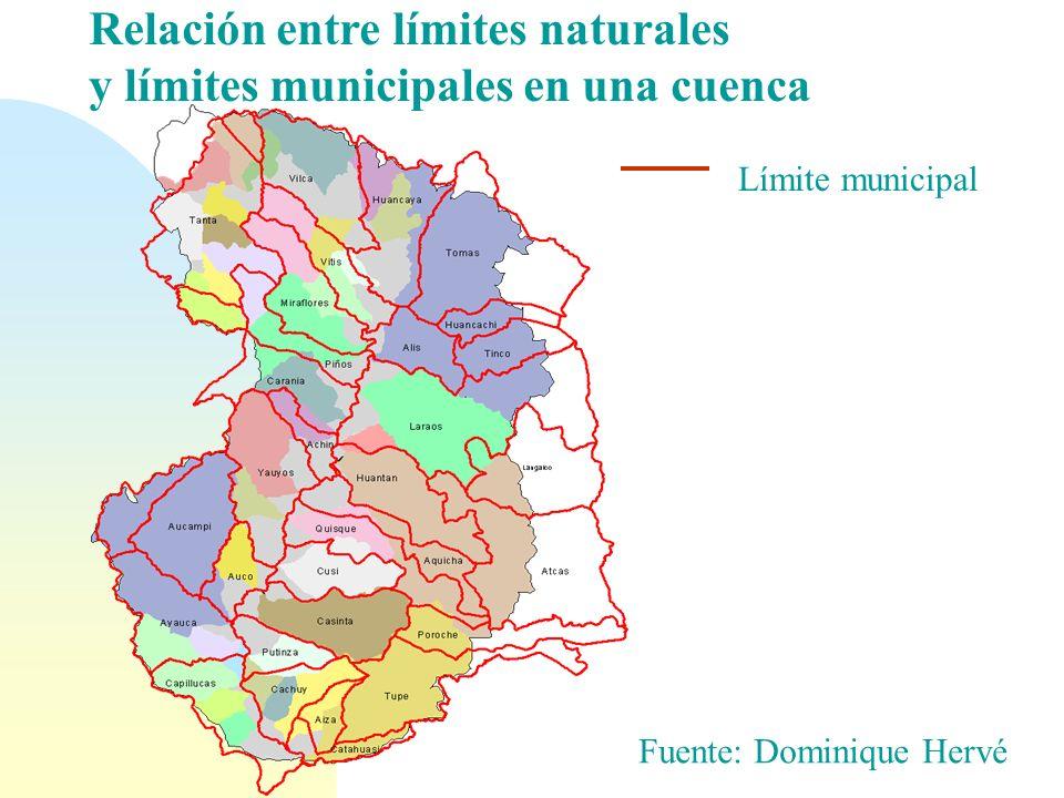 Relación entre límites naturales y límites municipales en una cuenca