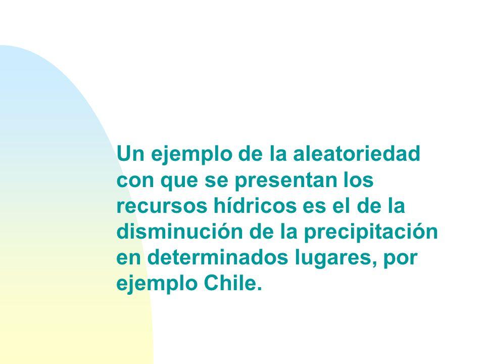 Un ejemplo de la aleatoriedad con que se presentan los recursos hídricos es el de la disminución de la precipitación en determinados lugares, por ejemplo Chile.