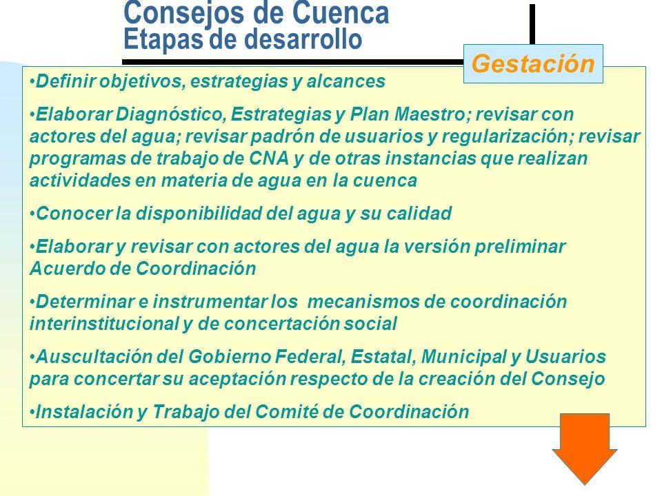 Consejos de Cuenca Etapas de desarrollo