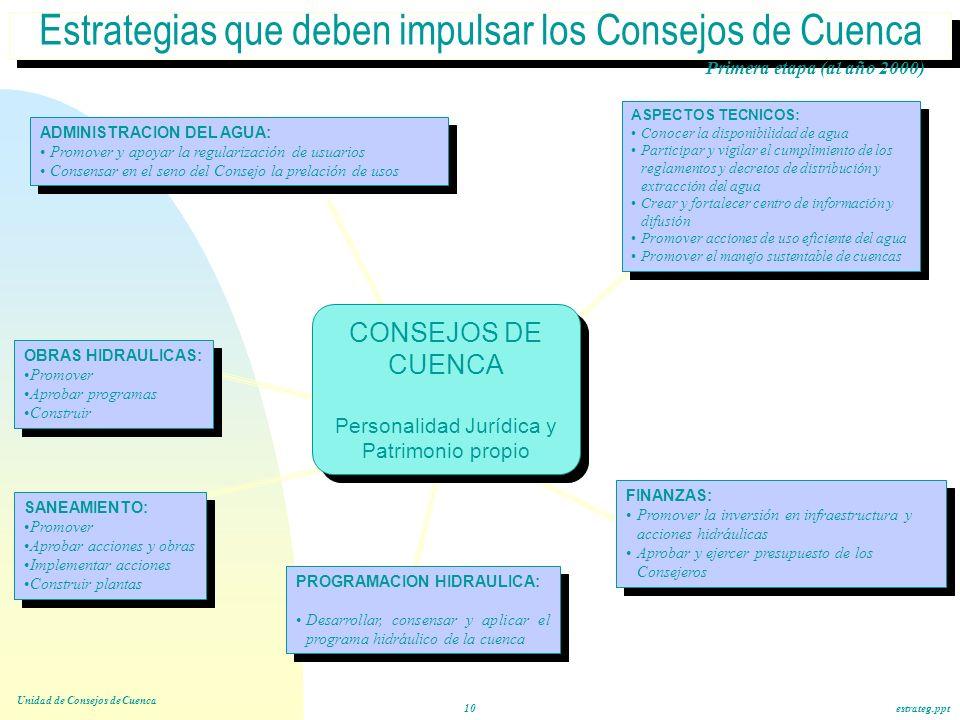 Estrategias que deben impulsar los Consejos de Cuenca