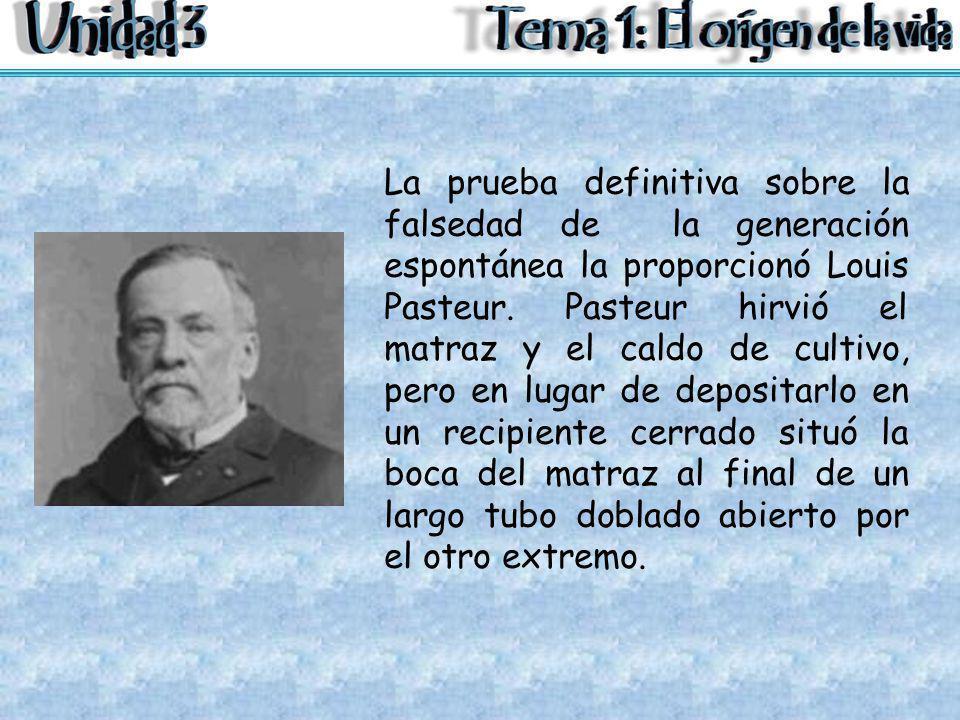 La prueba definitiva sobre la falsedad de la generación espontánea la proporcionó Louis Pasteur.