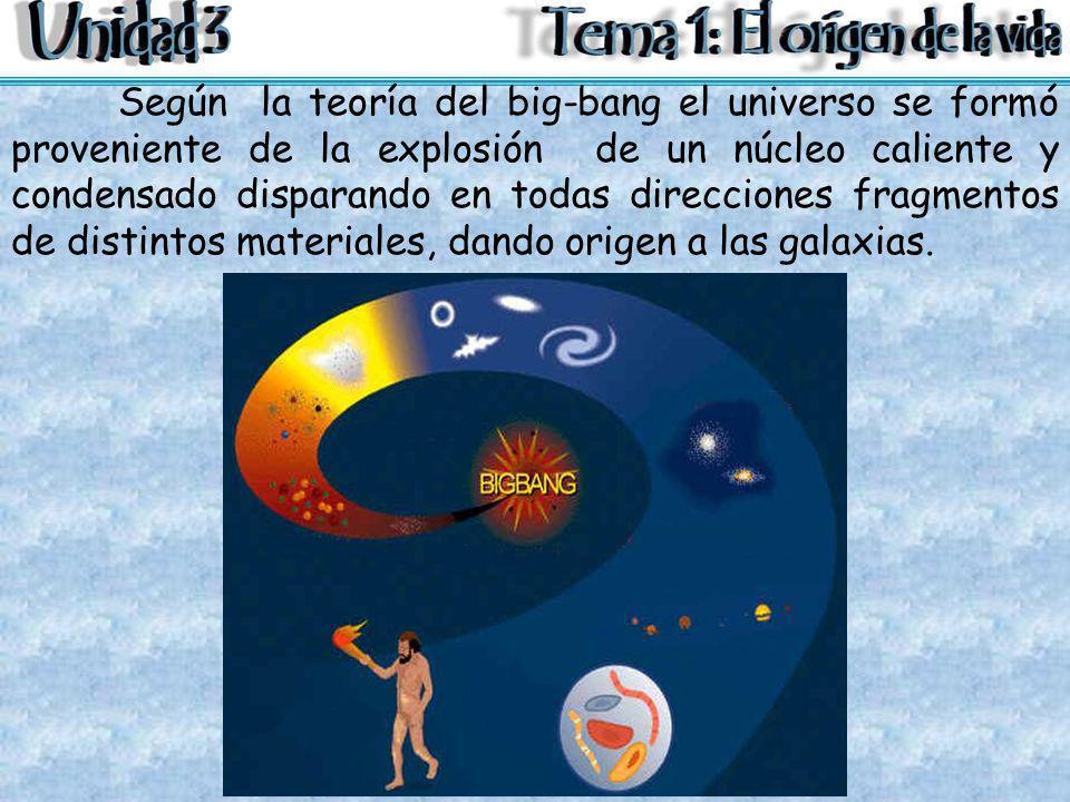 Según la teoría del big-bang el universo se formó proveniente de la explosión de un núcleo caliente y condensado disparando en todas direcciones fragmentos de distintos materiales, dando origen a las galaxias.
