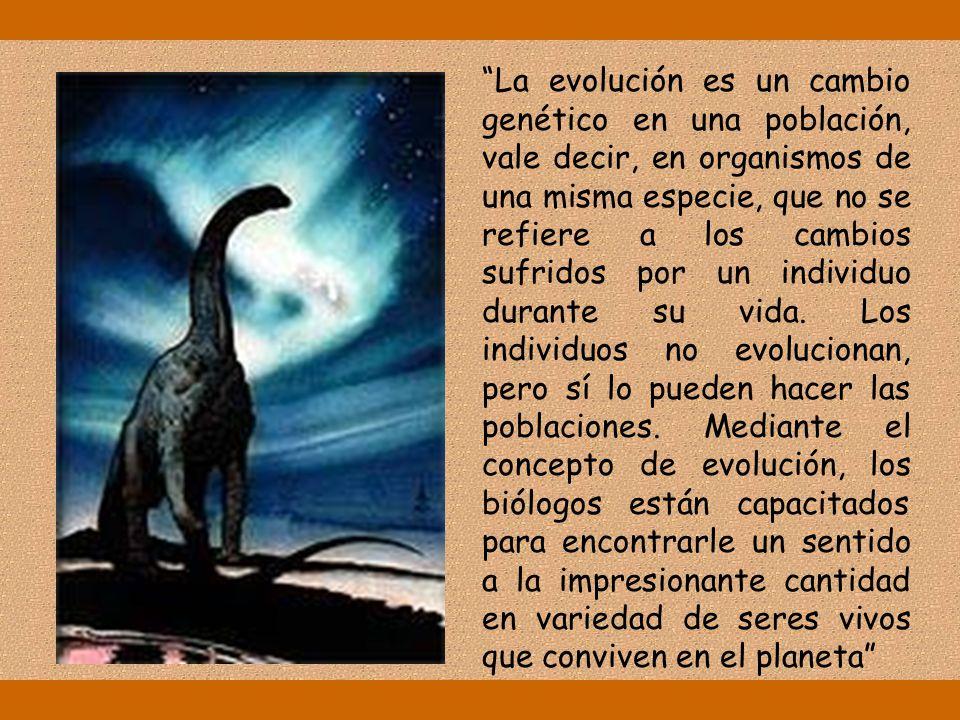 La evolución es un cambio genético en una población, vale decir, en organismos de una misma especie, que no se refiere a los cambios sufridos por un individuo durante su vida.