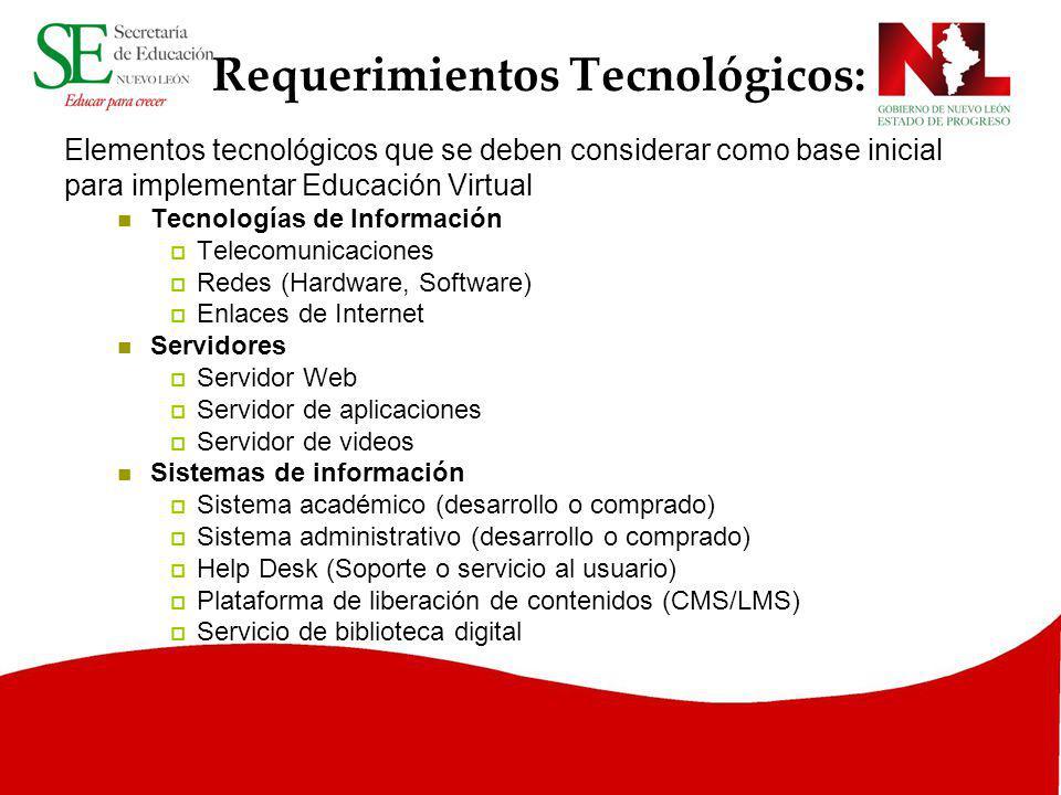 Requerimientos Tecnológicos: